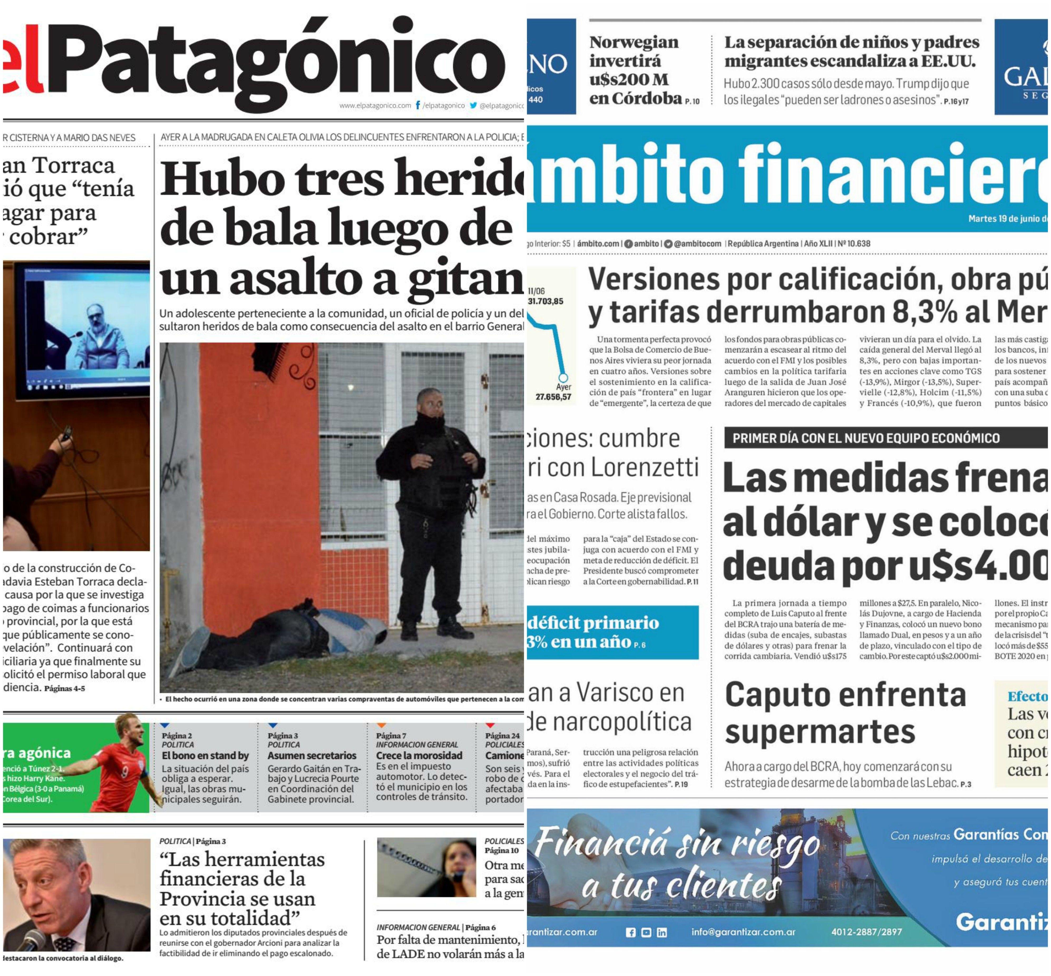 Tapas de diarios del martes 19 de junio de 2018
