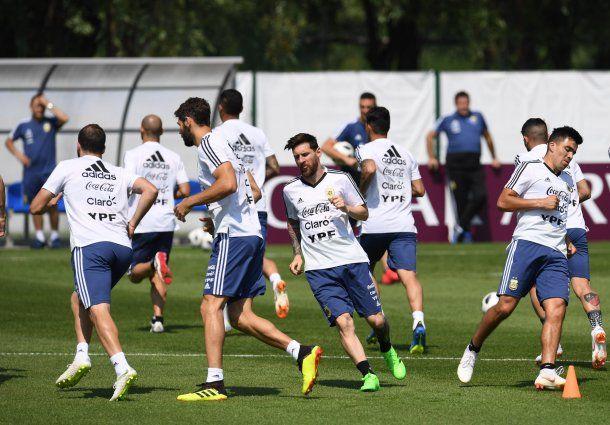 Selección argentina entrenando.