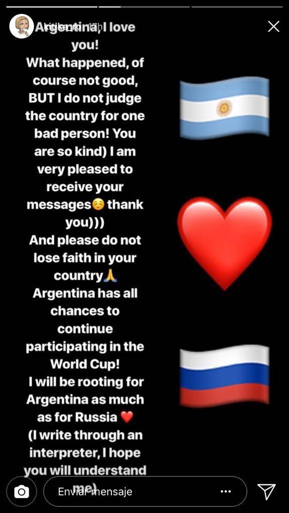 La joven rusa acosada por un hincha argentino respondió por Instagram