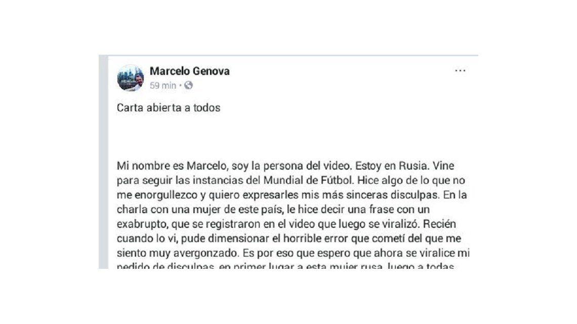 La carta abierta de Mariano Genova