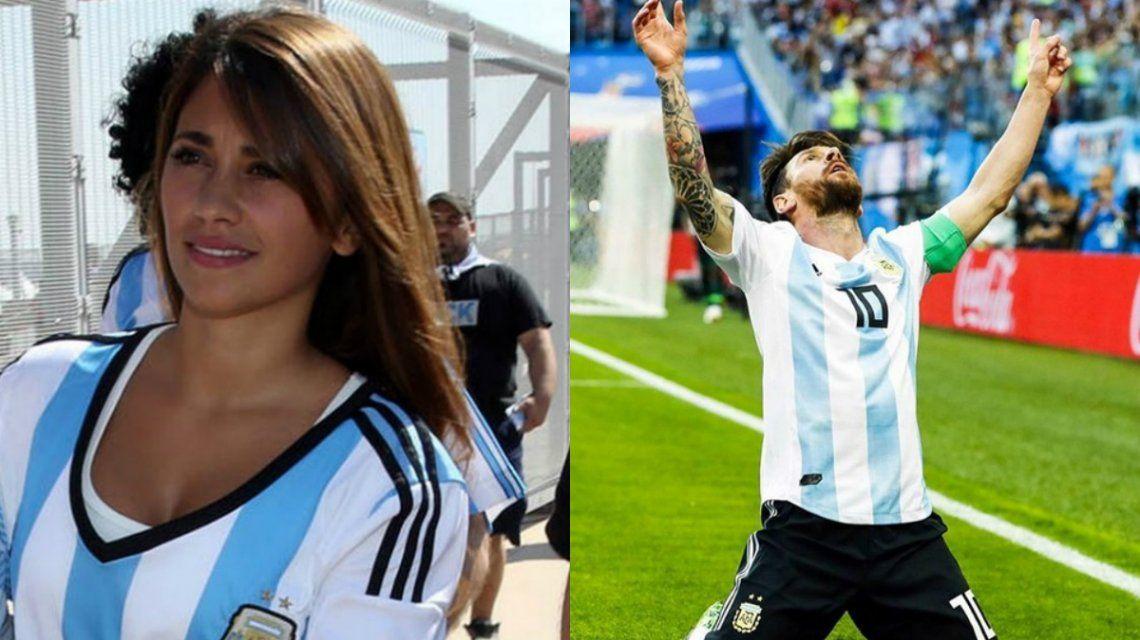 El festejo de Anto Roccuzzo por la clasificación y el gol de Messi