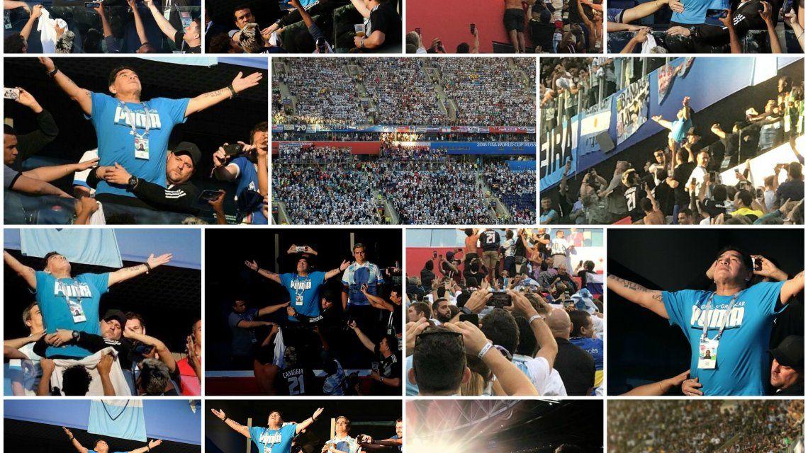 Maradona festejando el gol de Marcos Rojo