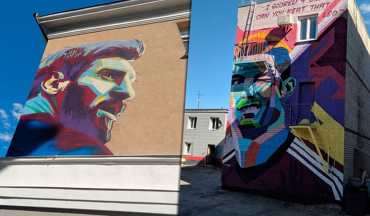 La guerra de los murales: Messi vs. Cristiano Ronaldo, frente al hotel de Argentina