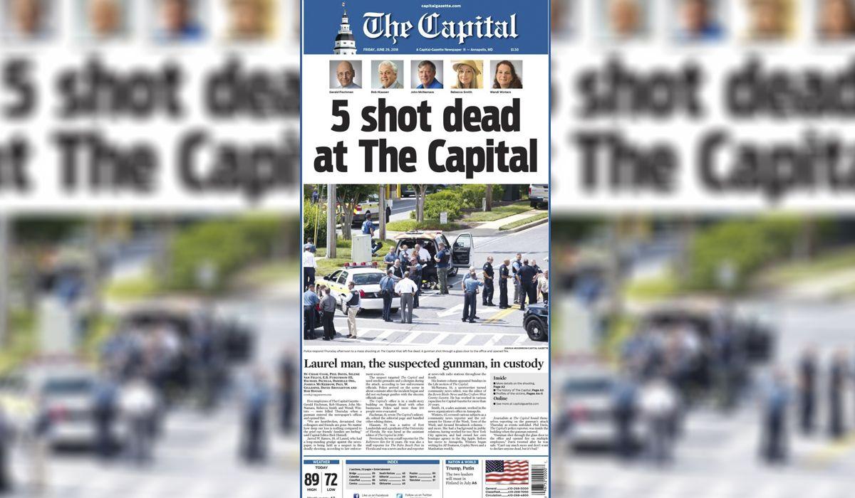 La tapa del Capital Gazette tras el tiroteo