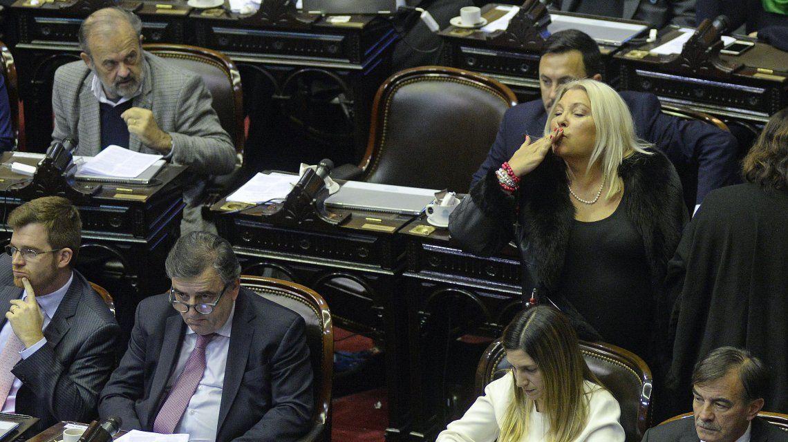 Elisa Carrió durante el debate por el aborto legal