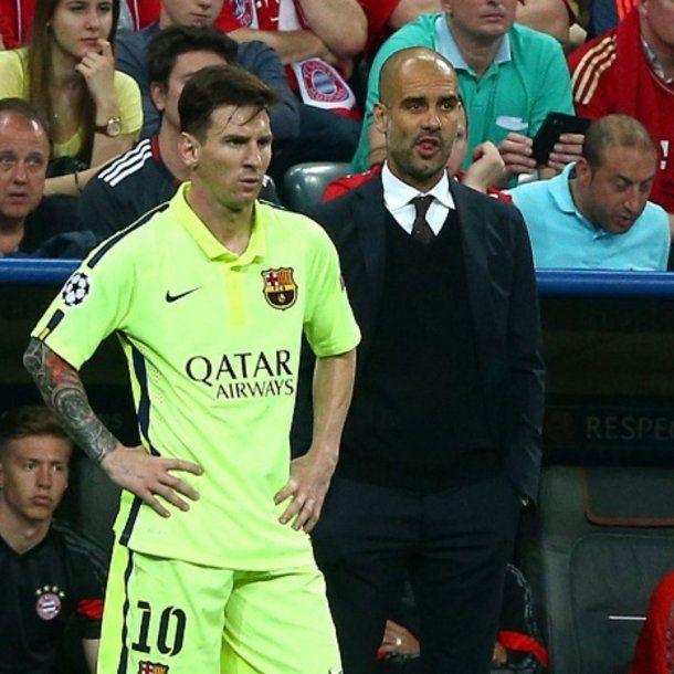 Lionel Messi y Pep Guardiola<br>