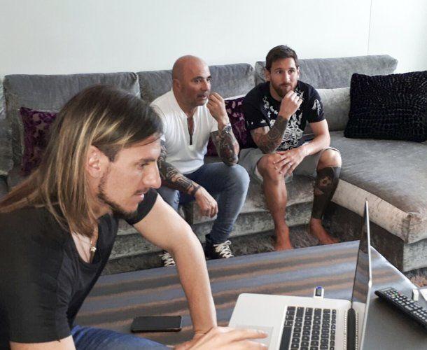 Sebastián Beccacece, Jorge Sampaoli y Lionel Messi<br>