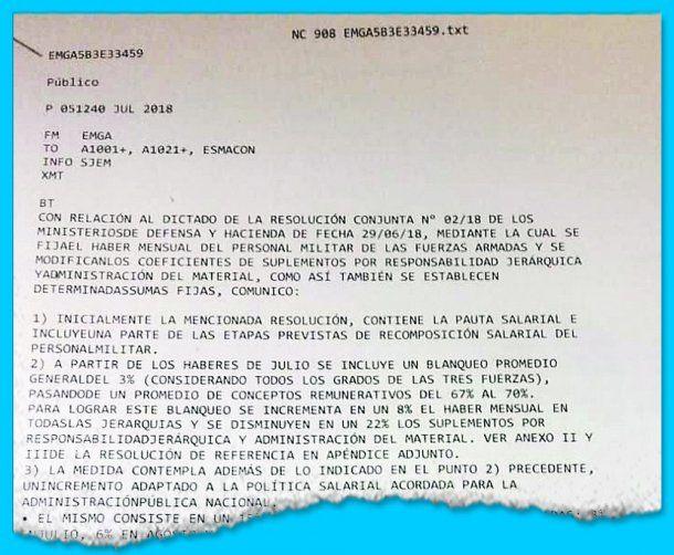Este radiograma fue difundido a los mandos castrenses<br>