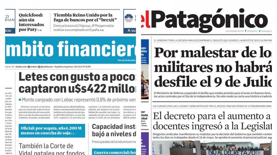 Tapas de diarios del viernes 6 de julio de 2018