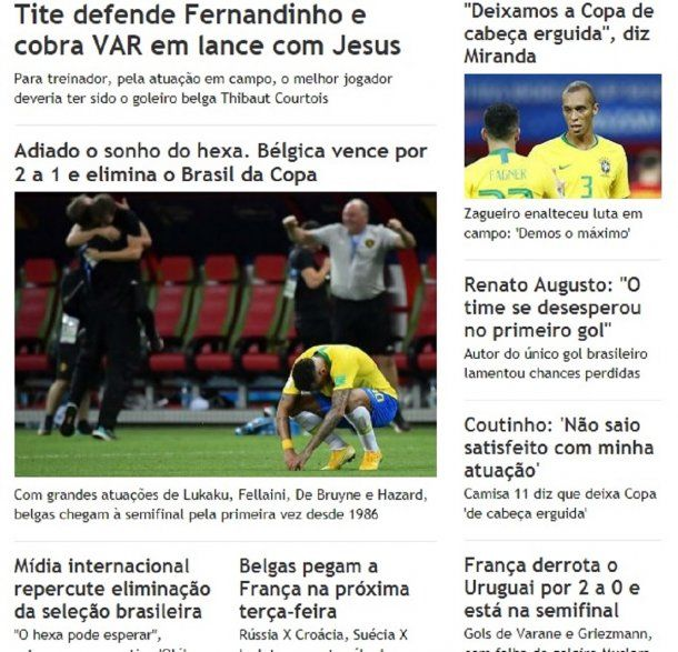 Los medios de Brasil tras la eliminación de Rusia 2018