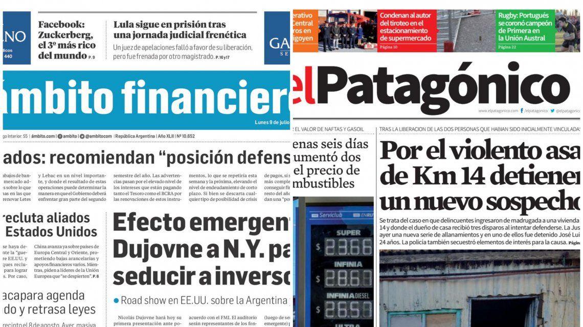 Tapas de diarios del lunes 9 de julio de 2018