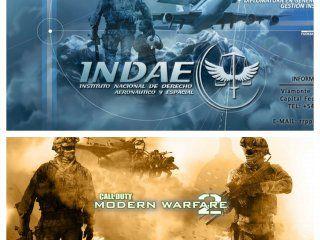 Página de la Fuerza Aérea y afiche de Call of Duty