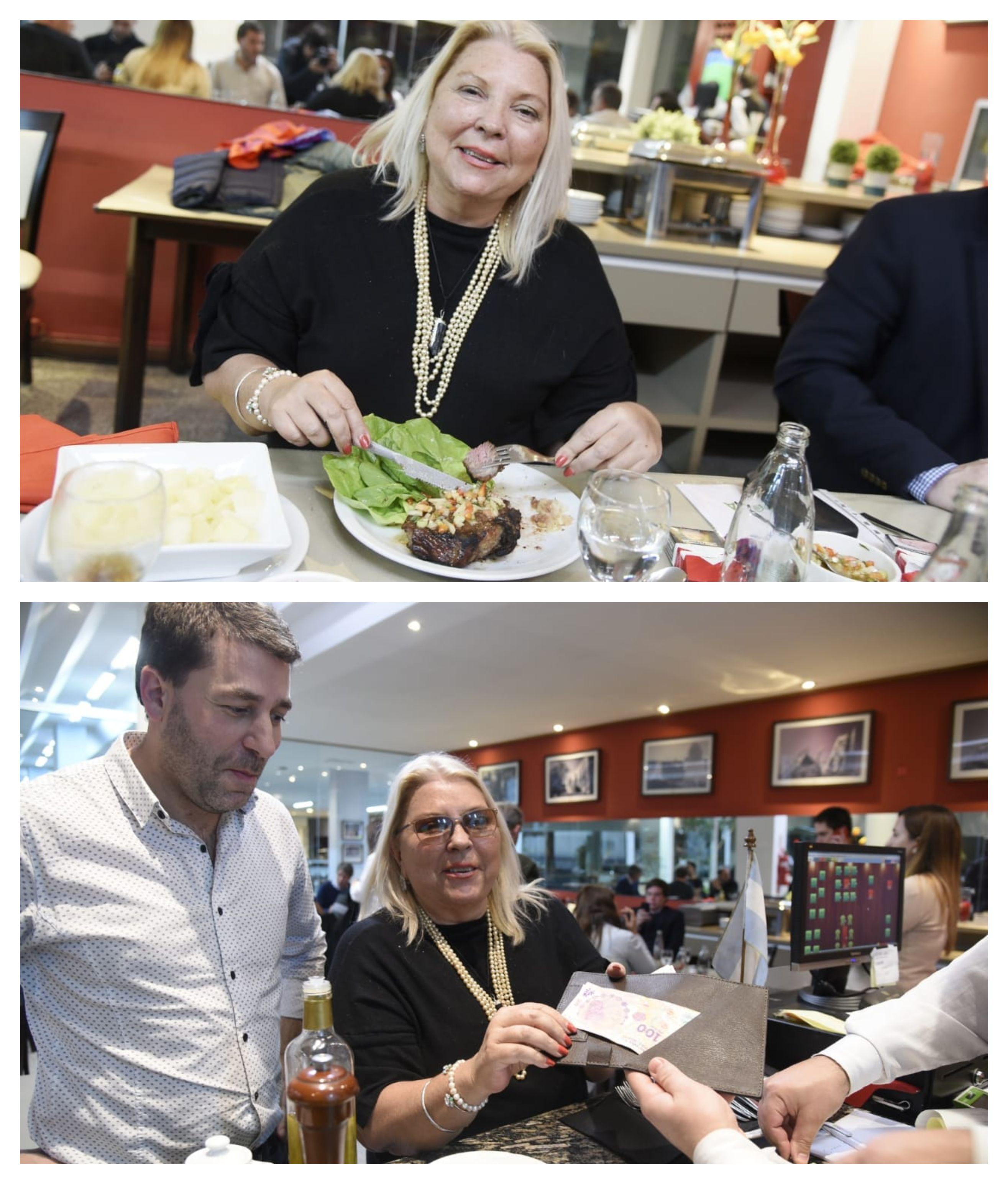 Elisa Carrió comiendo un bife de chorizo y cumpliendo con su propuesta de dar propina
