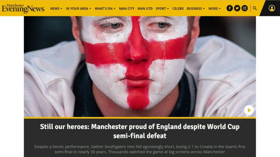 El Manchester Evening News publica: Todavía son nuestros héroes: Manchester está orgullosa de Inglaterra a pesar de la derrota en semi finales del Mundial