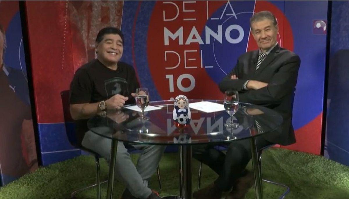 Diego Maradona con Víctor Hugo Morales