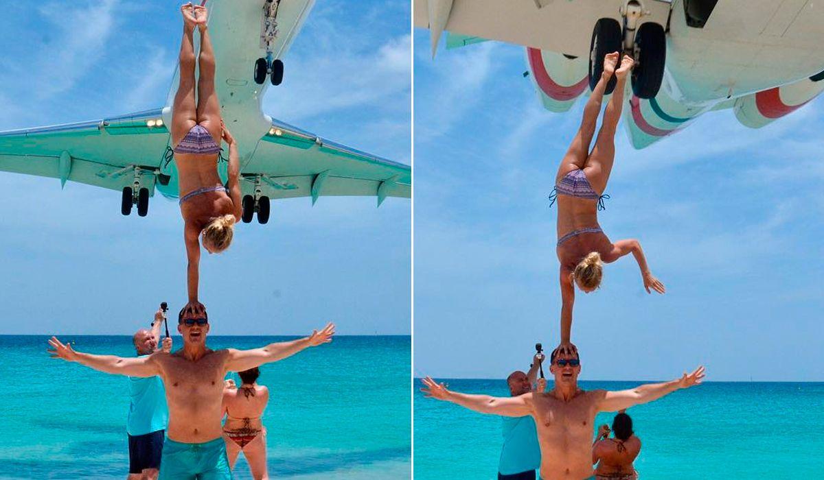 ¿Casi le arranca las piernas? La peligrosa acrobacia que hizo una pareja en Sint Maarten