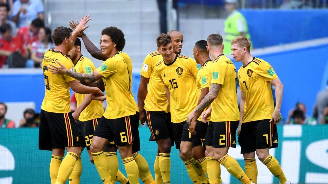 Bélgica celebra el gol ante Inglaterra