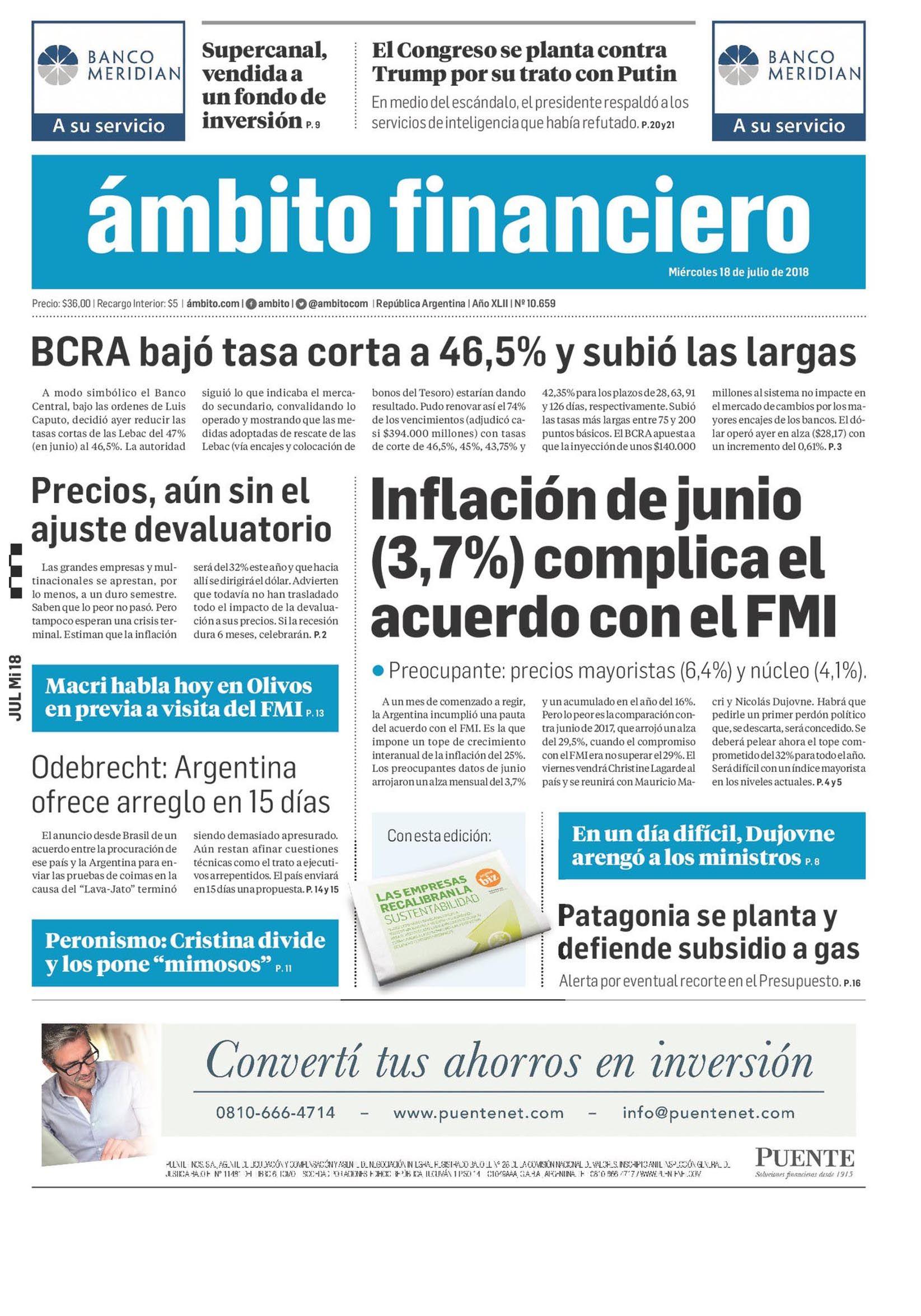 Tapas de diarios del miércoles 18 de julio de 2018