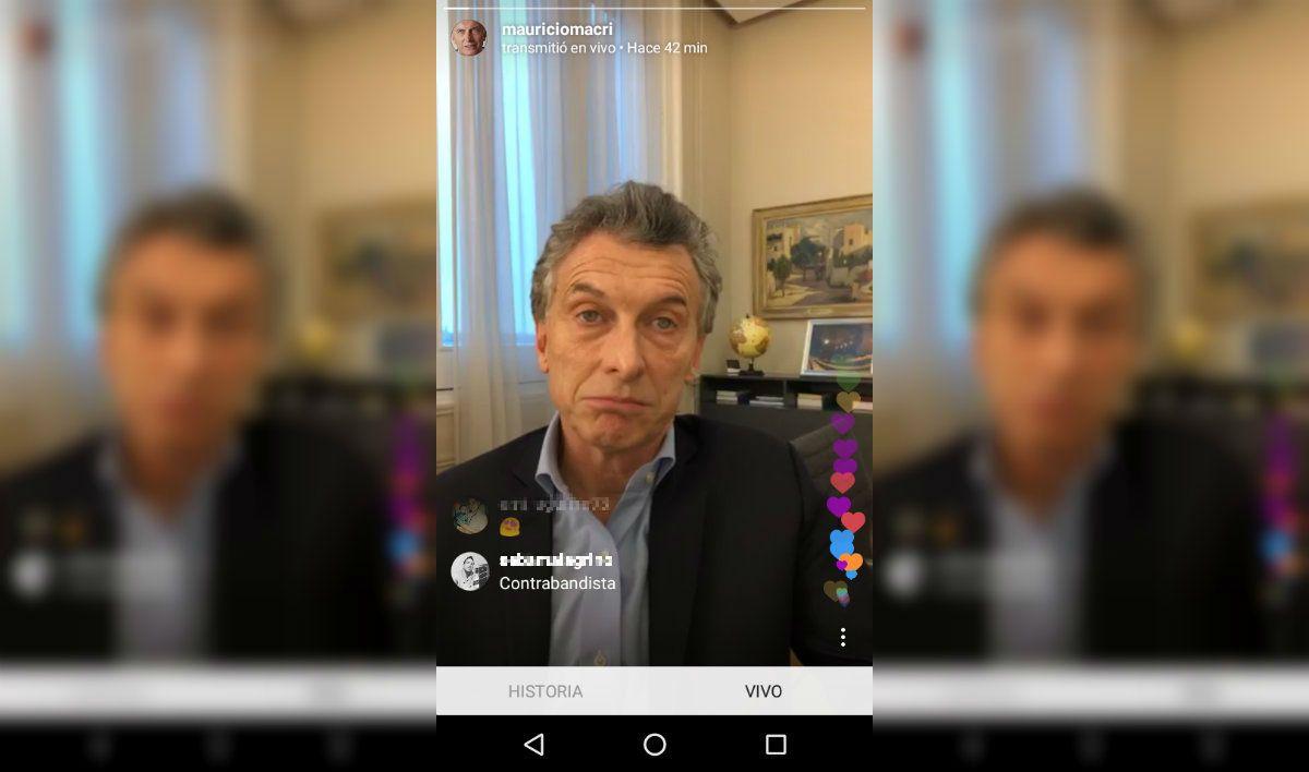 Macri respondió preguntas del público a través de Instagram Live