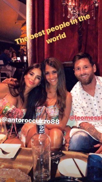 Antonela Roccuzzo, Lionel Messi y Daniella Semaan