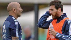 Jorge Sampaoli y Lionel Messi