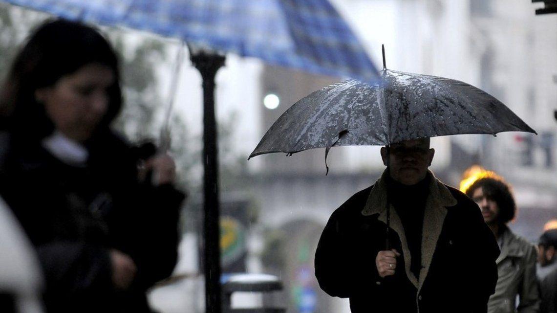 Lunes lluvioso en Capital y Gran Buenos Aires