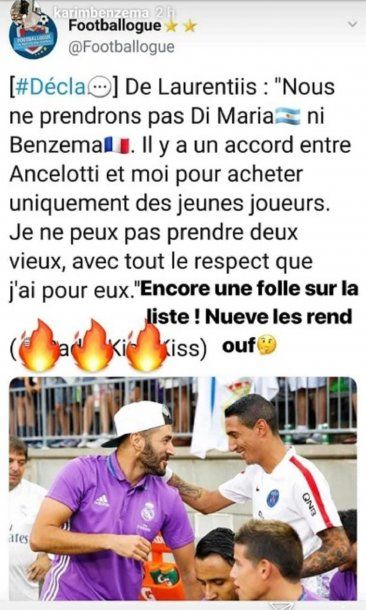Karim Benzema le contestó a Aurelio De Laurentiis desde Instagram