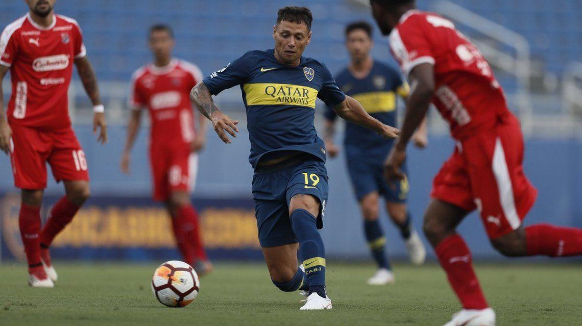 Zárate en Boca contra Independiente de Medellín - Crédito:@BocaJrsOficial