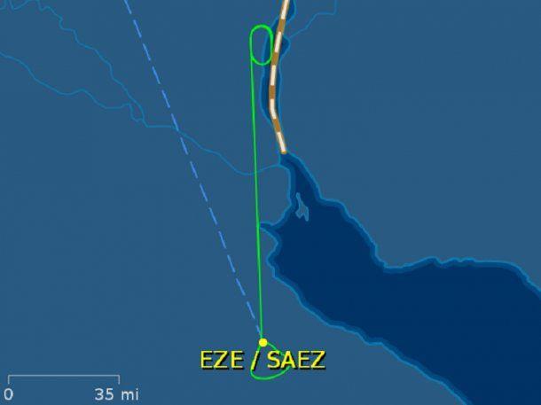 El recorrido que hizo el avión en el que iba Christine Lagarde<br>