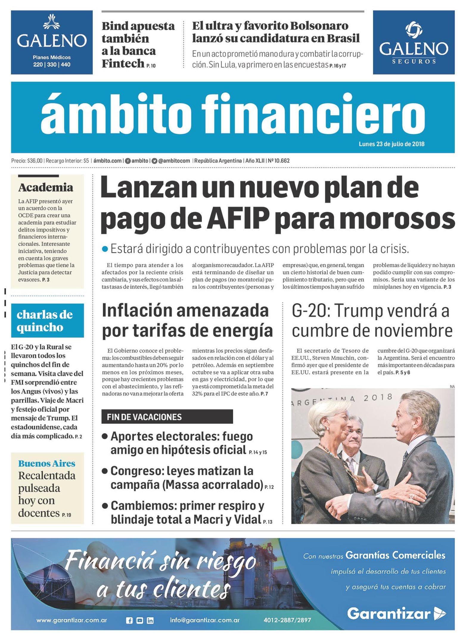 Tapas de diarios del lunes 23 de julio de 2018
