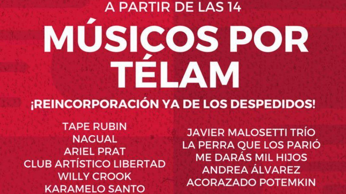 Organizan un festival de música en la puerta de la agencia Télam
