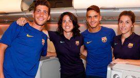 Los jugadores viajaron en primera, el equipo femenino en turista