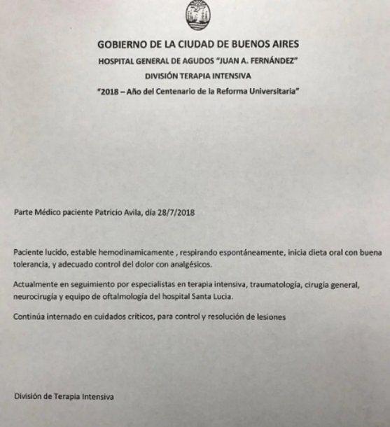Parte médico de Patricio Ávila