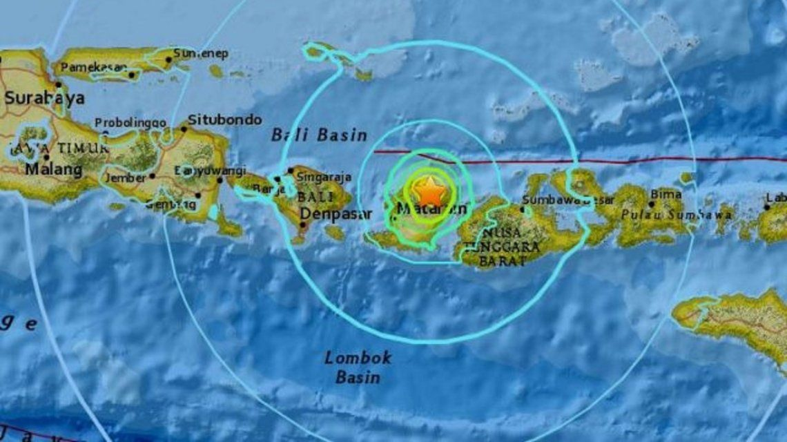 Epicentro del terremoto en Indonesia.