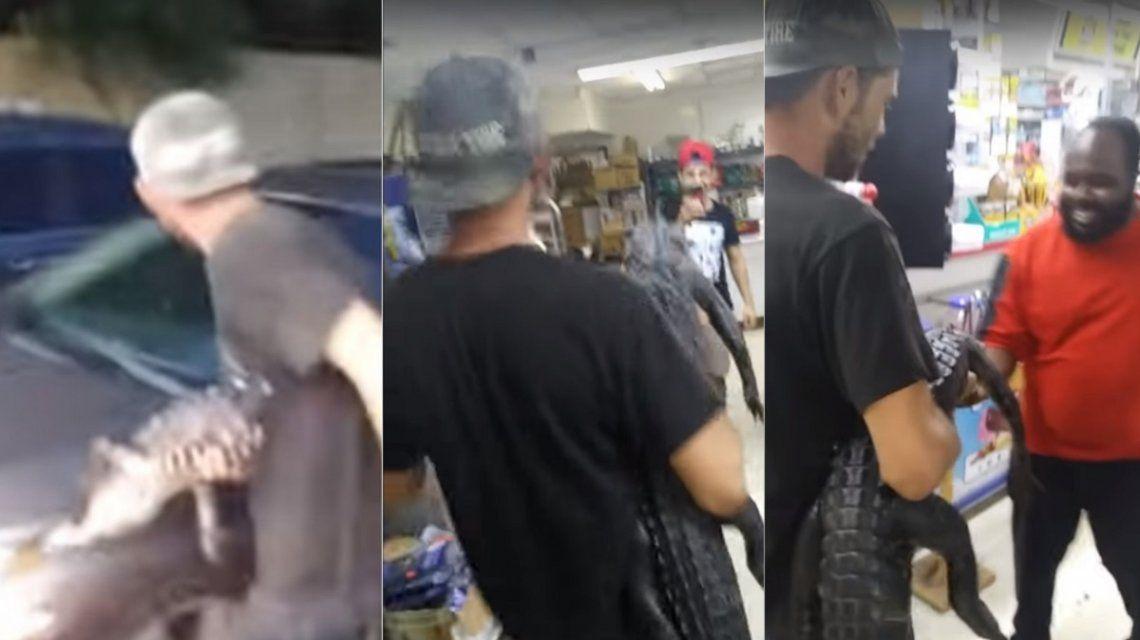Persiguió a los clientes con un caimán
