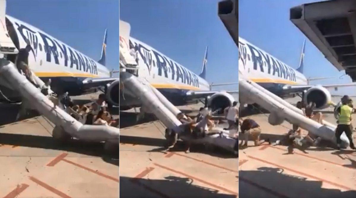 Evacuaron un avión en Barcelona por el incendio de un celular