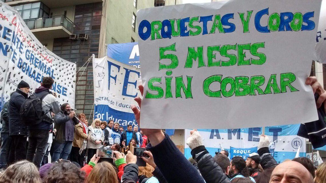 Protesta de orquestas de la que participó Sandra Calamano