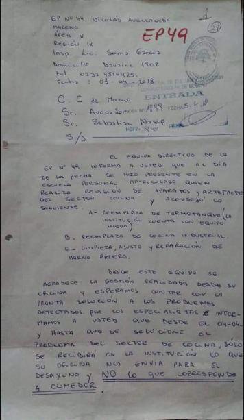 Esta es la nota que había presentado Sandra al Consejo Escolar  sobre los problemas en la escuela