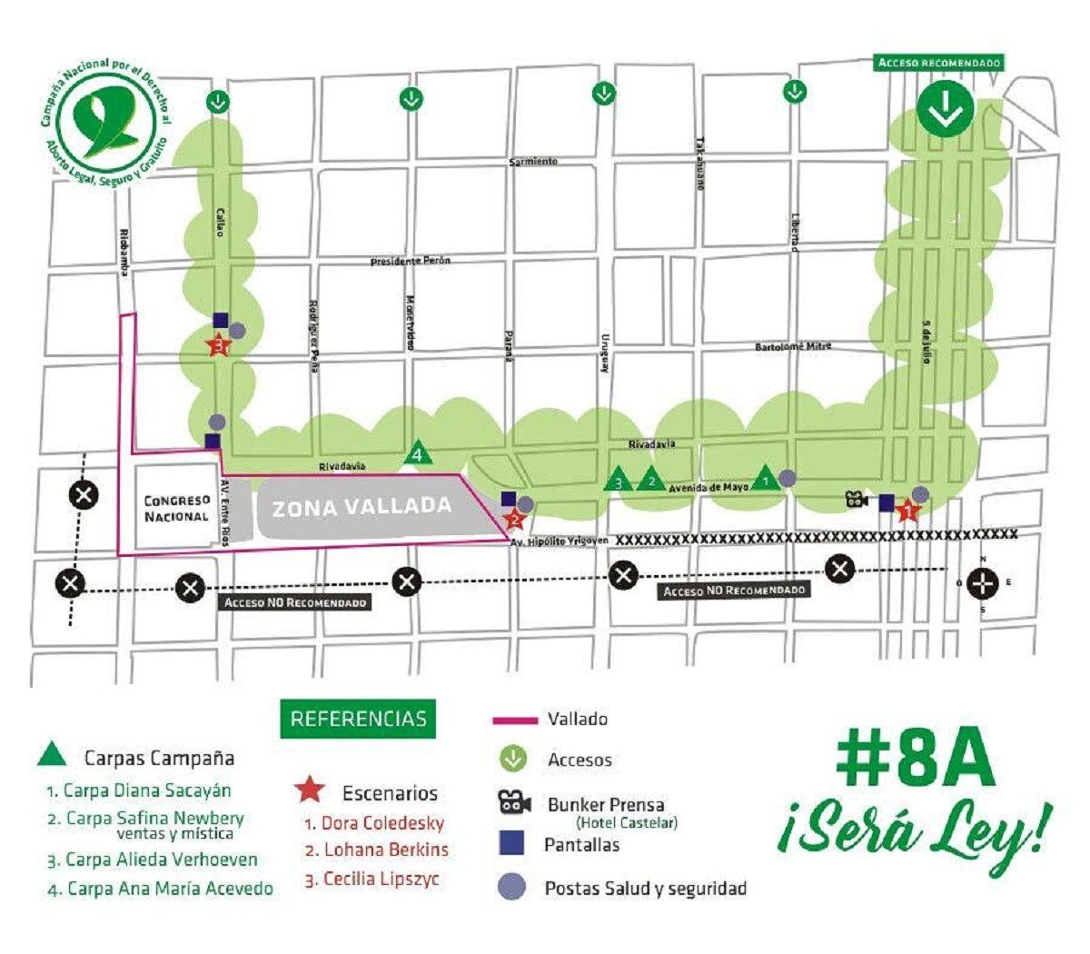 {altText(Plano de Plaza del Congreso durante el #8A<br>,Manifestantes por el derecho al aborto difunden un mapa para ir al Congreso y protestan por el excesivo vallado)}