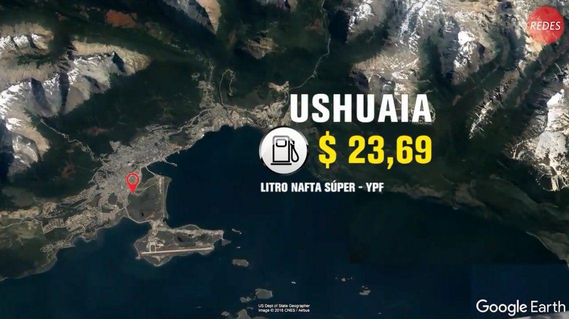 En Ushuaia la nafta super está a menos de 24 pesos