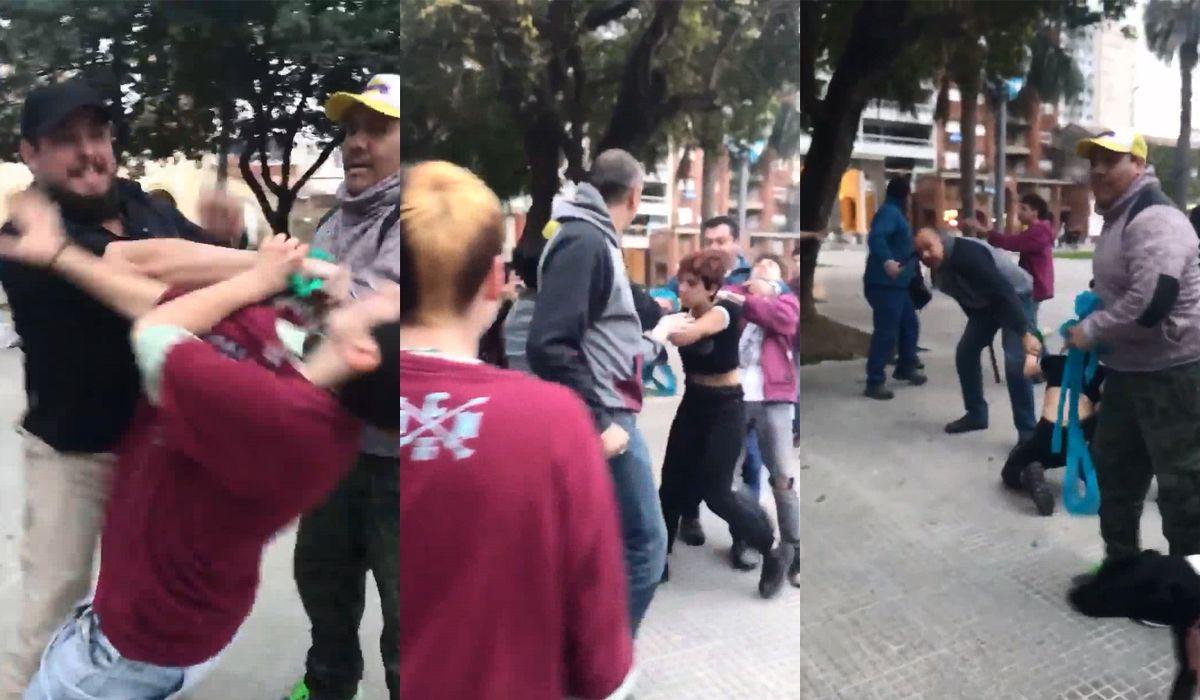 Brutal agresión a jóvenes que se manifestaban a favor del aborto en Santa Fe