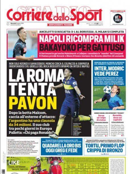 Pavón está en la mira de Roma, según Corriere dello Sport<br>