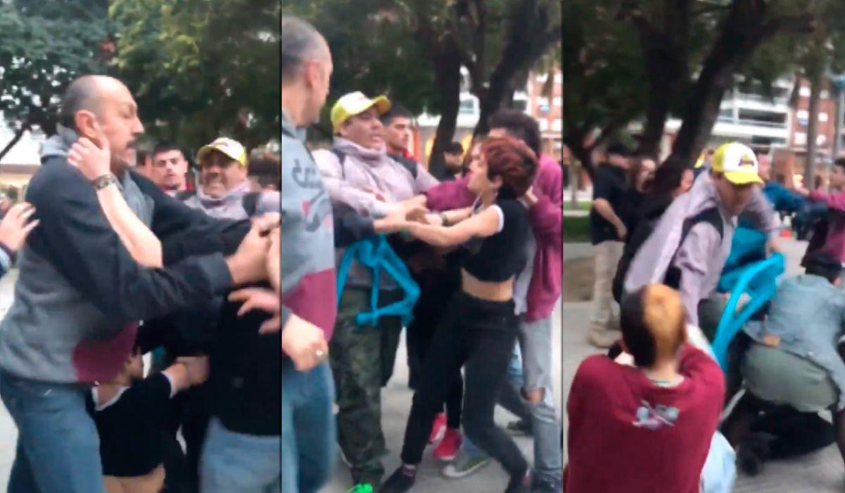 VIDEO: Manifestantes provida golpearon a jóvenes que llevaban pañuelos verdes en una marcha en Santa Fe
