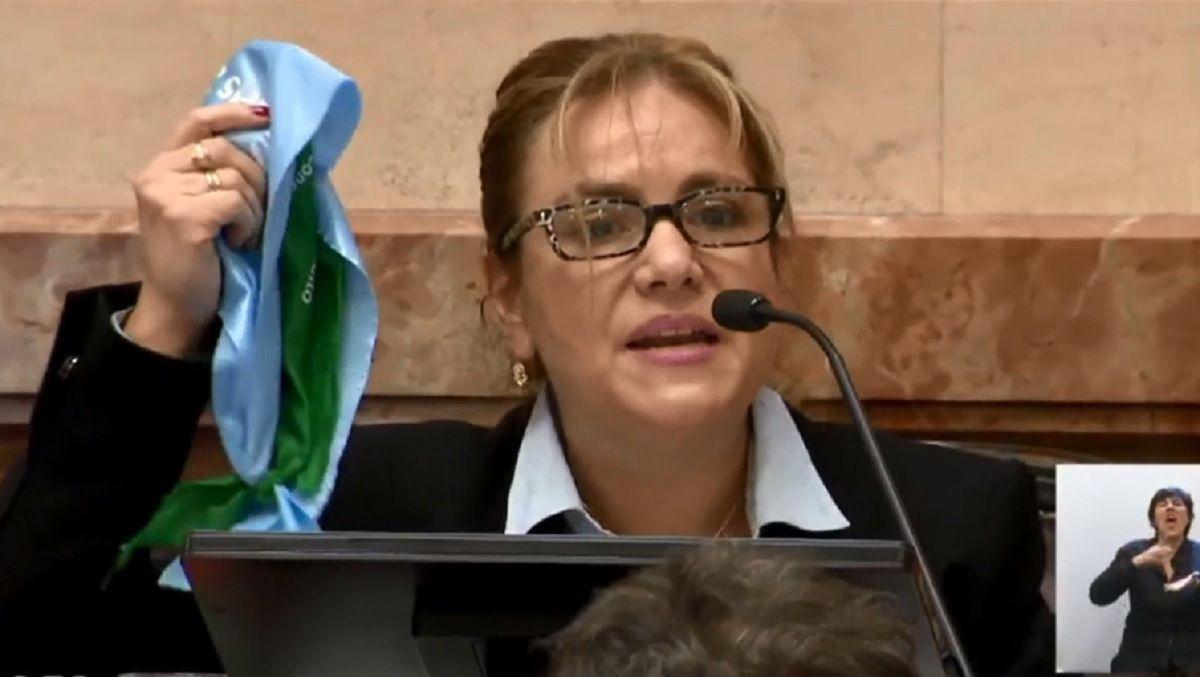 La senadora Boyadjian mostró los dos pañuelos durante el debate por el aborto