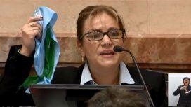 La senadora que mostró los dos pañuelos durante el debate por el aborto