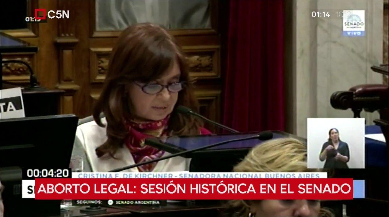 Cristina Fernández de Kirchner en la sesión por el aborto