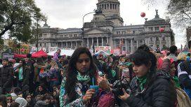Así fue la manifestación en la Plaza Congreso a favor de la legalización del aborto