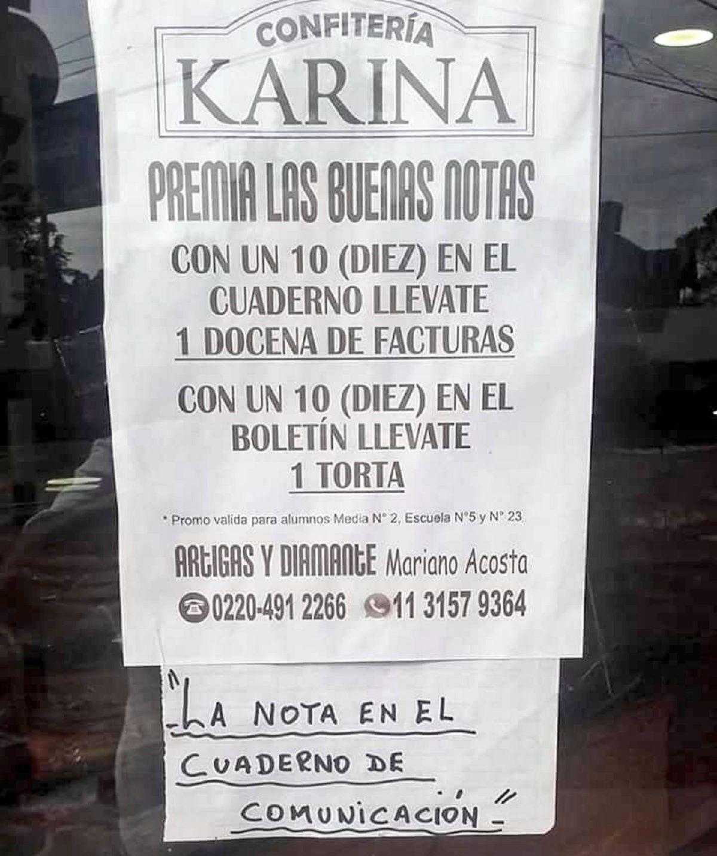 Confitería Karina se llama el local que regala facturas y tortas