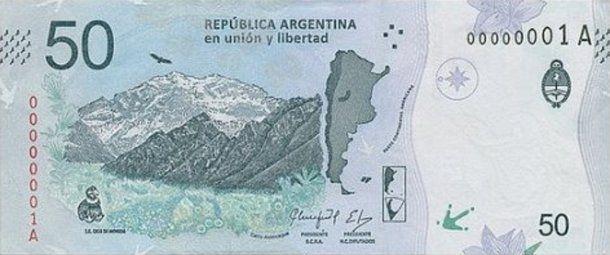 El cerro Aconcagua acompaña al cóndor patagónico en el nuevo billete de 50 pesos<br>