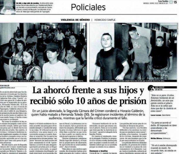 Portada del diario Los Andes